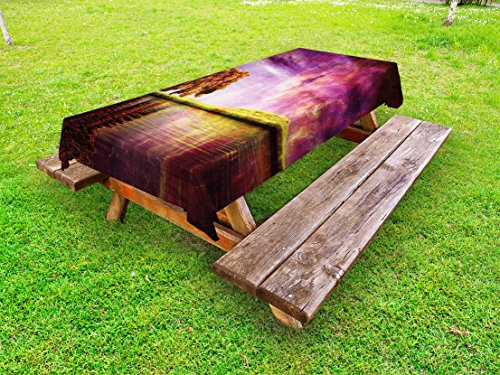 Lunarable Magical Outdoor Tablecloth, Supernatural Sky Scenery with Mystical Northern Solar Theme and Star Clusters Photo, Decorative Washable Picnic Table Cloth, 58 X 120 inches, Purple by Lunarable