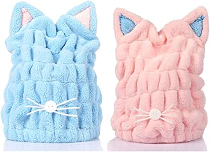 2Pcs Microfiber Hair Drying Towels, Cute Bath Towel Wrap, Ultra Soft Absorbent Hair Dry Hat Cap, Quick Drying Bath Cap for Women Adults or Kids Girls