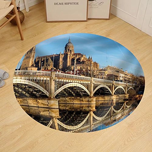 Gzhihine Custom round floor mat View of City of Salamanca Spain by Gzhihine