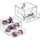 MetroDecor mDesign Juego de 2 Organizador de Gafas de Sol y de Leer con 2 cajones – Cajonera de plástico para Guardar Gafas – Guarda Gafas Ideal como joyero u Organizador de Maquillaje – Transparente