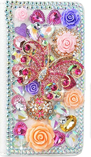 Stylish Gold 3D Handmade Bling Crystal Bag Flowers Floral Design Magnetic Wallet Credit Card Slots Fold Stand Leather Cover for Samsung Galaxy Note 9 STENES Galaxy Note 9 Case