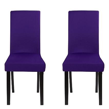 Fundas para sillas paquete de 2, estirable, lavable, elásticas, Fundas Sillas Comedor Perfecto para Casa, Hotel, Restaurante, Bar en la Fiesta y ...
