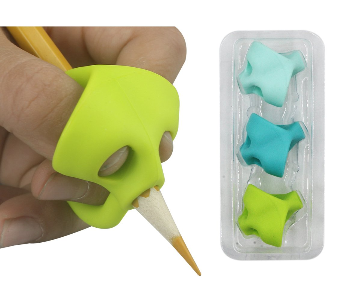 Aimeio Pencil Grip, Writing Aid Grip Traner Silicone Pencil Posture Correction Finger Grip for Kids Preschoolers,3 PCs Assorted Color