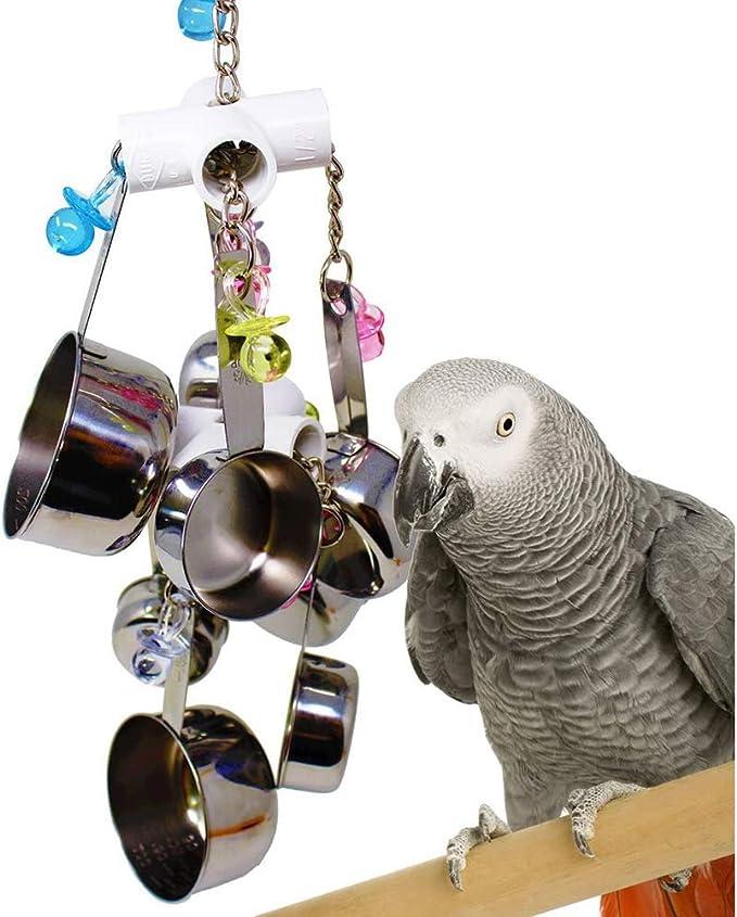 NanXi Juguete del pájaro del Loro Juguetes Campanas de Acero Inoxidable para Colgar en la Jaula para periquitos cacatúas guacamayos Loros Grises africanos y pinzones