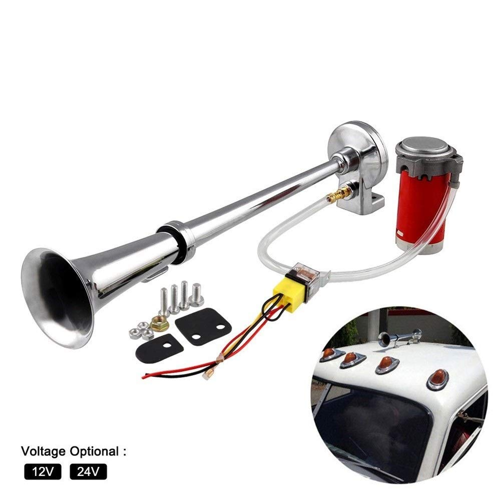 150DB Super Loud 12V/24V Single Trumpet Air Horn Compressor Car Lorry Boat Motorcycle (Voltage : 24V) by XIAOLAOBIAO