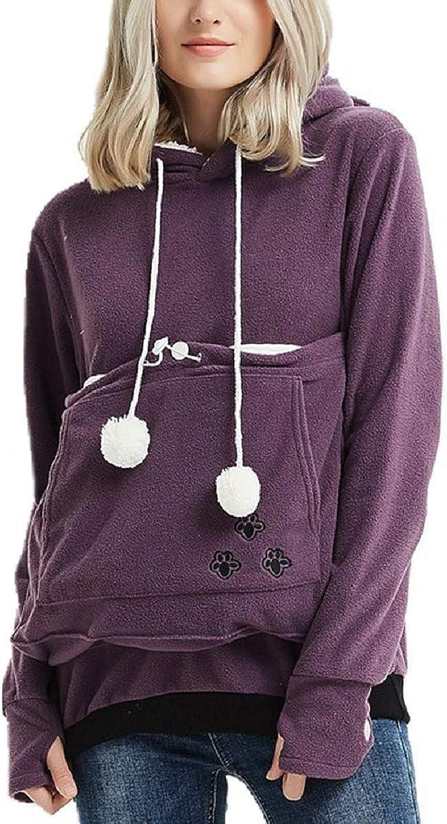 Women Cat Dog Holder Hoodie Kangaroo Pouch Sweatshirt Long Sleeve Solid Warm Pet Pouch Hoodie