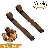 Bestidy 2 Pack Mädchen Damen French Twist Haar Brötchen Styling Braid Halter Werkzeug - Donut Hair Bun Maker - Magic DIY Tool (Brown)