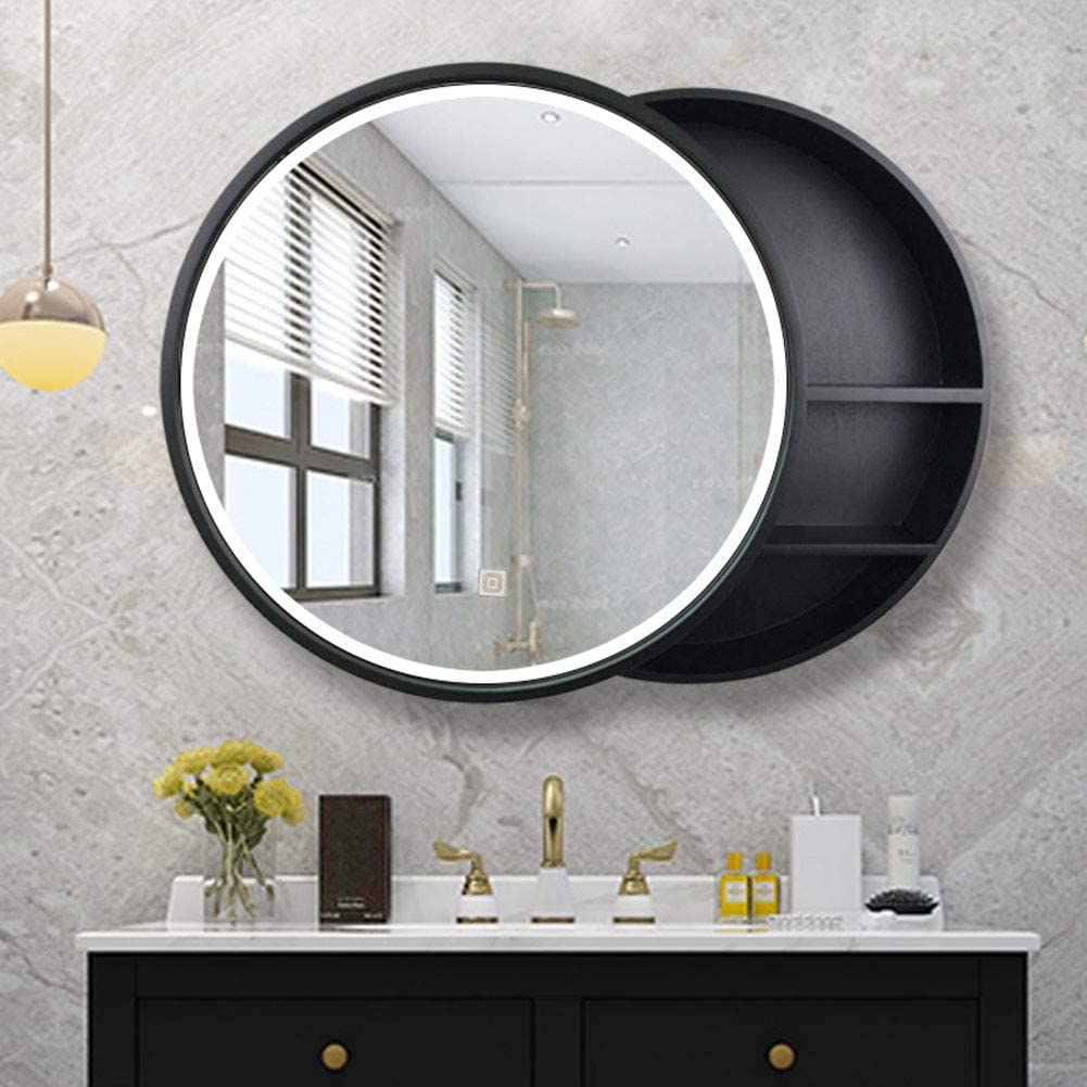 Amazon Com L Ed Illuminated Bathroom Mirror Cabinet Solid Wood Led Storage Mirror Wall Mounted Round Vanity Mirror Touch Switch Explosion Proof Home Kitchen