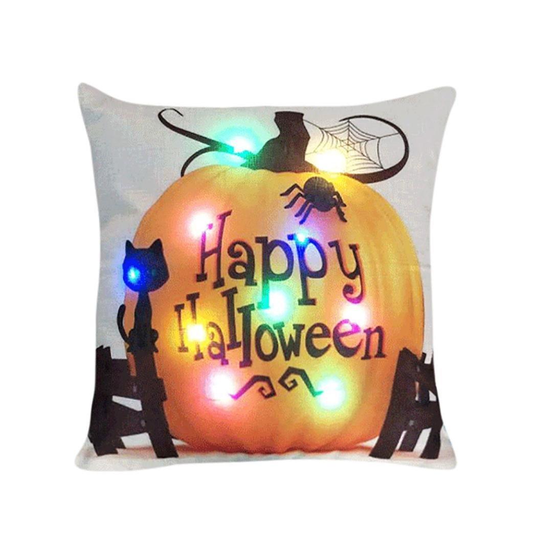 Challyhope Halloween LED Throw Pillow Cases Lighting Flashing Cushion Cover Sofa Chair Back Seat Home Decor (45cmX45cm, Multicolor B) PC-178300094