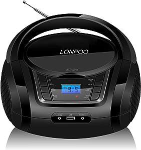 Lectores de CD portátiles,Radio CD / MP3 Portátil Reproductor CD con Bluetooth/FM/USB/AUX-IN/Salida de Auriculares/Estéreo Altavoz (LP-D03)