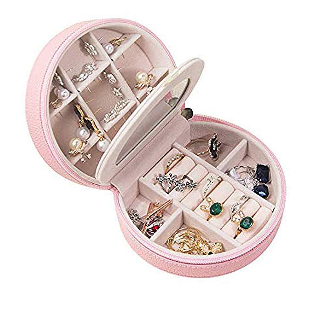 HyFanStr Portable Bo/îte /à Bijoux avec Miroir Bijoux de Voyage /étui de Rangement pour Boucles doreilles Bague Collier Cadeaux