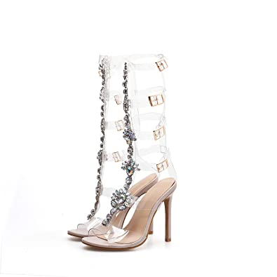 Amazon com | Pofameeta Women Sandals High Heels Rhinestone