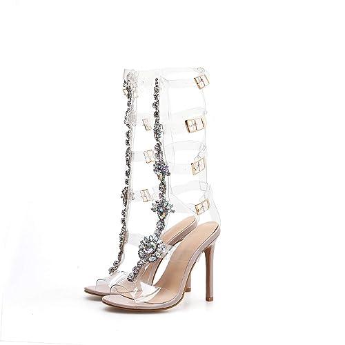 f152a4fa921d6 Amazon.com | Pofameeta Women Sandals High Heels Rhinestone ...