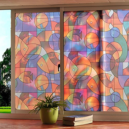 Wayward No Glue Static Decorative Films,Bathroom Frosted Glass Films,Anti-uv Sun Protection Repeated use Sliding Door Translucent Opaque Window Decal-A 75x200cm(30x79inch)
