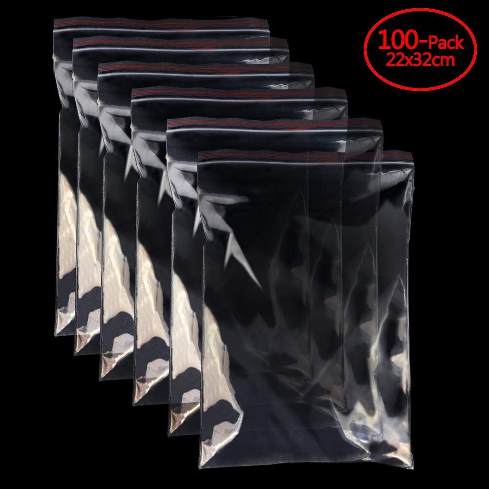 "Clear Organizer Bags A4 8.7""x12""Reusable Zip Bags 1.8 mils Thick Pack of 100 Poly Bags"