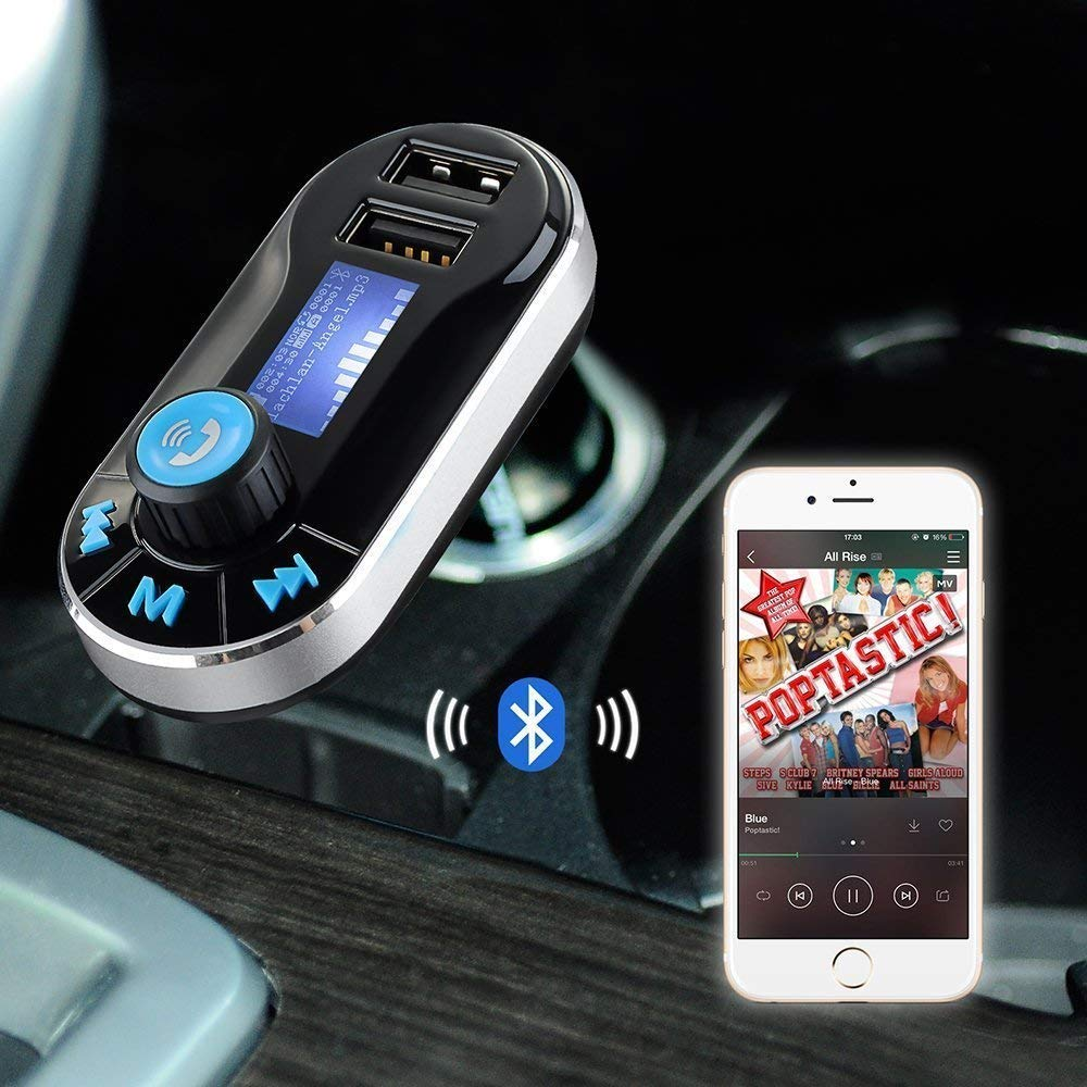 I-Sonite FM Transmitter in-Car Car Kit Wireless Modulator Radio Adapter with Music Player, Dual USB Car Charger, Support SD/TF Card, Music Control, Hands-Free Calling for BlackBerry Leap by I-Sonite (Image #2)