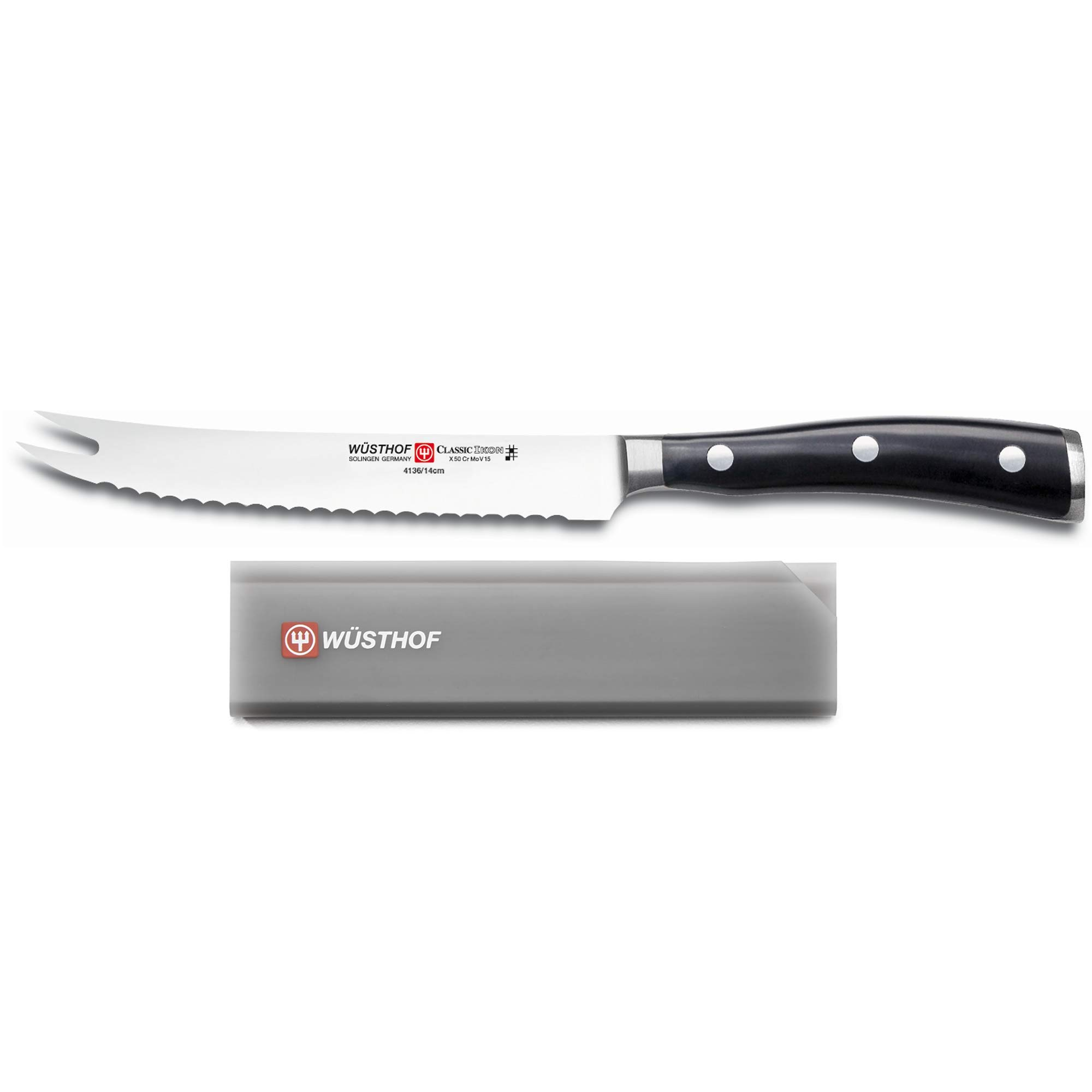 Wusthof Classic Ikon 5'' Tomato Knife with Blade Guard Fits Up To 5'' Paring/Utility Knife