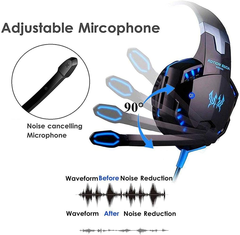 evelove 3.5mm Stereo Headphones Over Ears Low with Microphone Wired Gaming Headphone On-Ear Headphones Headset On-Ear Headphones