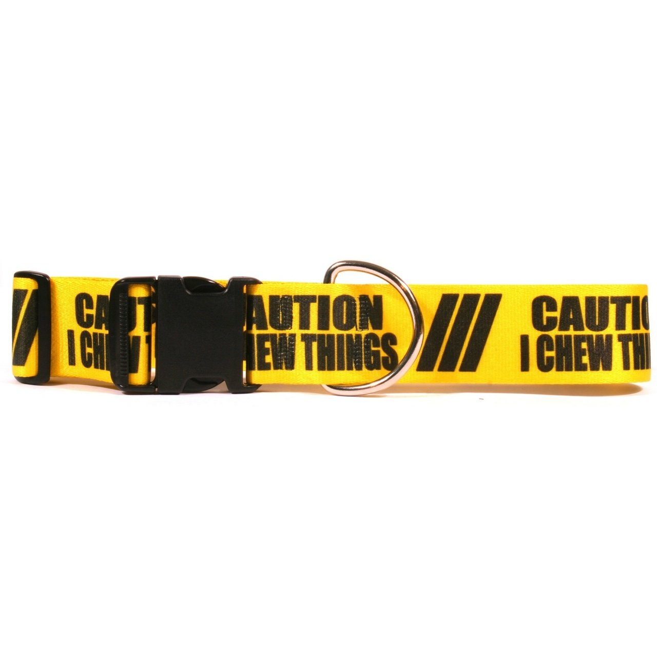 Medium 14\ Yellow Dog Design 2  Caution I Chew On Things Dog Collar 3 4  Wide And Fits Neck 14 To 20 , Medium