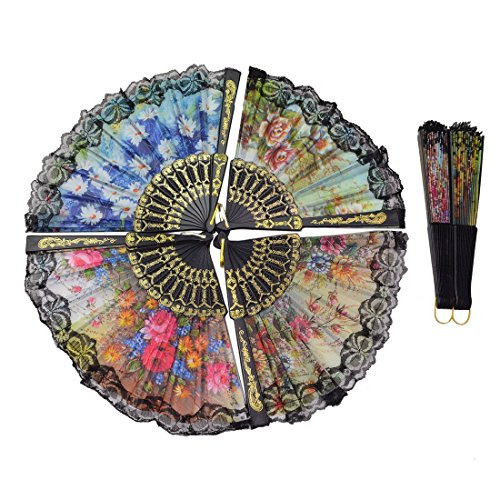 Windspeed Spanish Women Floral Folding Hand Fan Size 9'' Pack of 10 Pieces Random Color by Windspeed (Image #5)