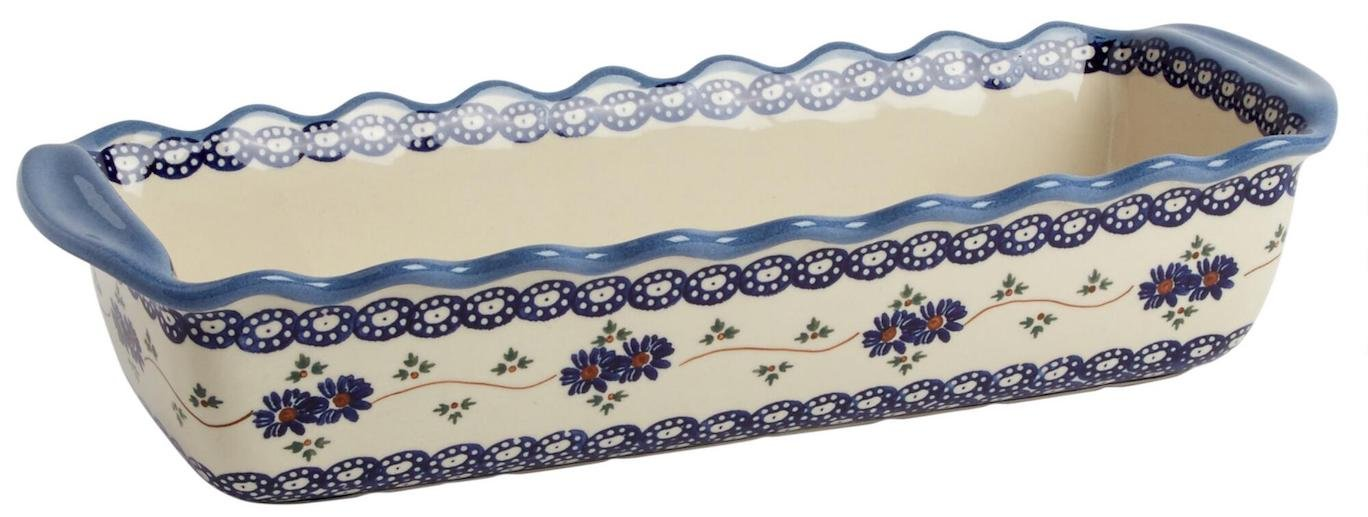 Polish Pottery Blue Floral Chain Large Fluted Loaf Pan 15.5''L x 6''W x 3.25''H