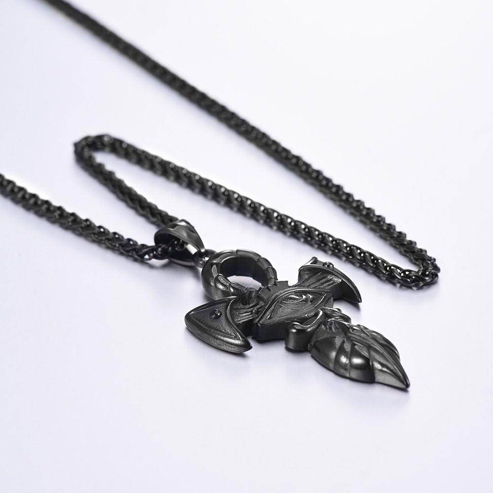 U7 Collier Homme Pendentif Croix /Égyptienne//Oeil dHorus Amulette Acier Inoxydable//Plaqu/é Or//Noir Bijoux de l/Égypte Antique Ankh Cross Eye of Horus