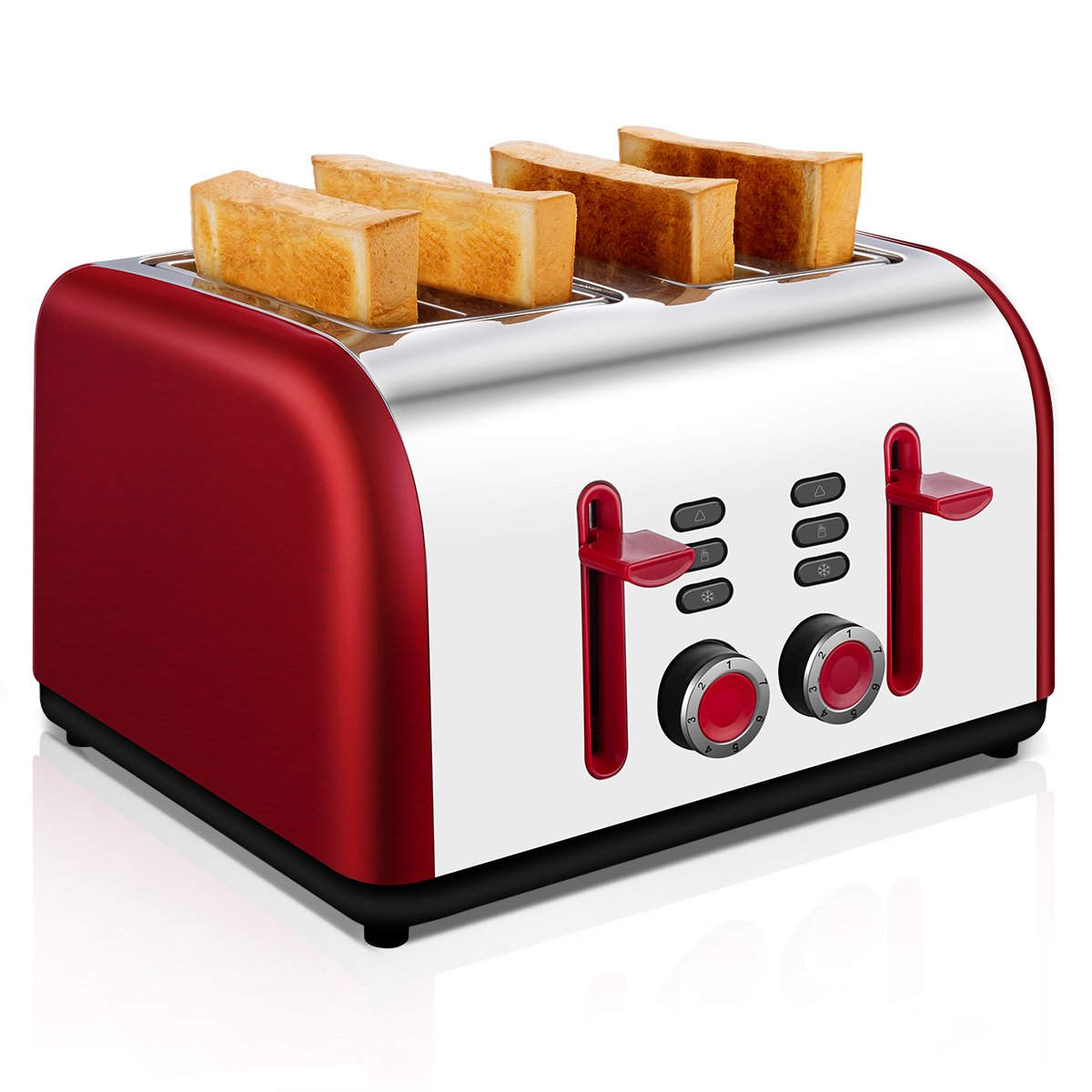 4-Slice Toaster, TOBOX Stainless Steel Toasters 4 Wide Slots with 7 Bread Browning Settings, REHEAT/DEFROST/CANCEL Function, 1400W, Red