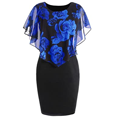 165a80c7ad37d HGWXX7 Womens Fashion Plus Size Rose Print Chiffon Straight Skirt Ruffles  Dress (S