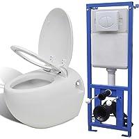 vidaXL Toilette murale avec réservoir caché Design d'œuf Blanc