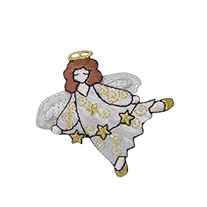 Angel with Halo - 3 Stars - 3D Wings - White/Gold - Iron On  Applique/Embroidered Patch