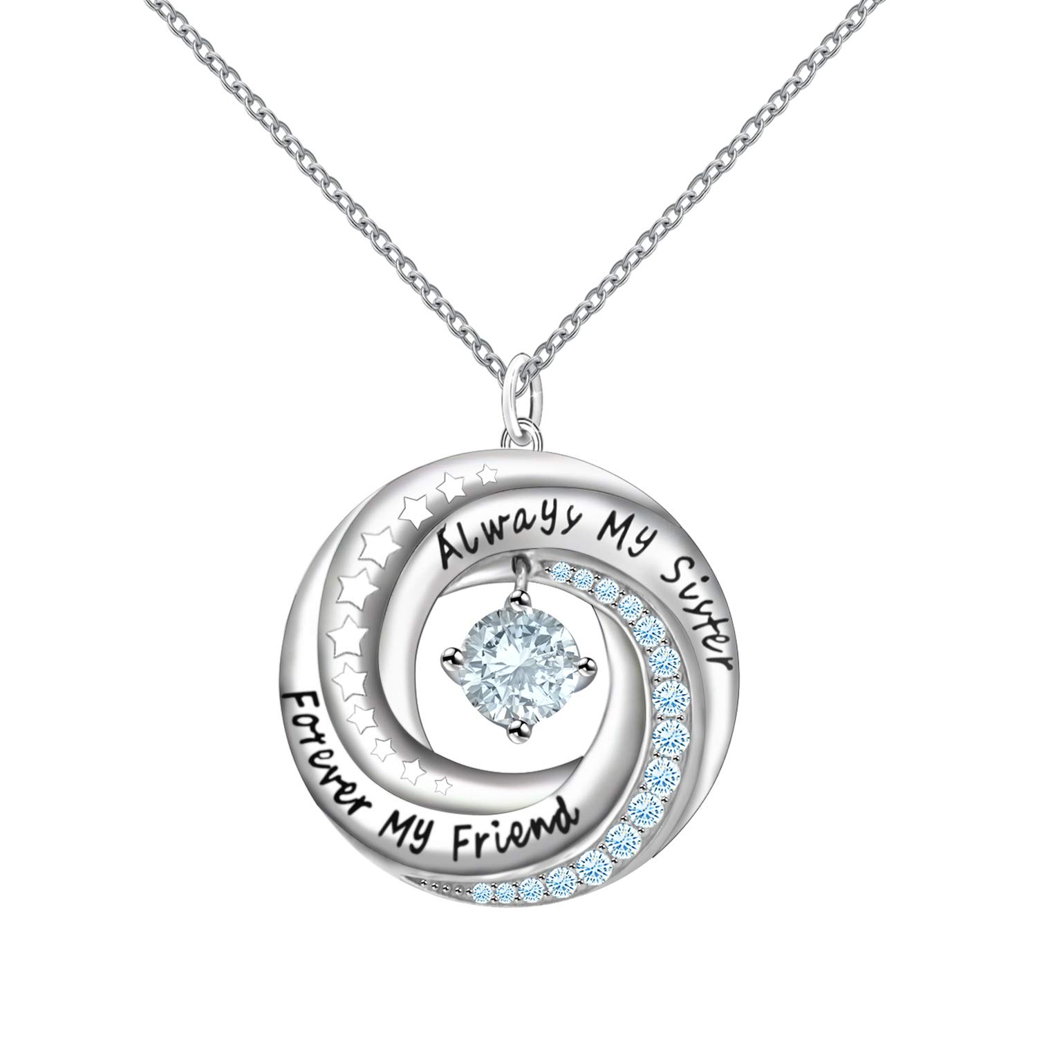 925 Sterling Silver Always My Sister Forever My Friend Circle Pendant Necklace with Dancing Crystal for Sis Birthday Gift