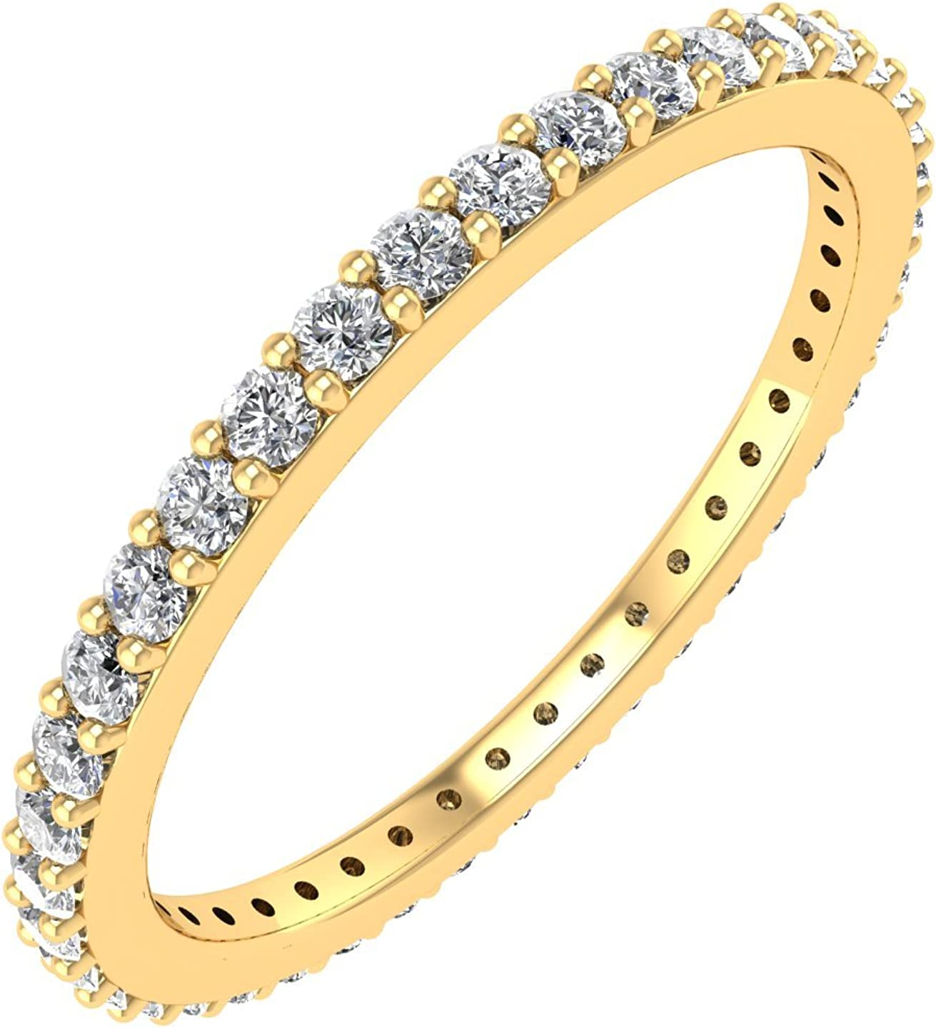 Round Diamond Ring Wedding Band Anniversary Ring Stackable Ring Promise Ring Beaded Diamond Band 14K Gold Diamond Ring