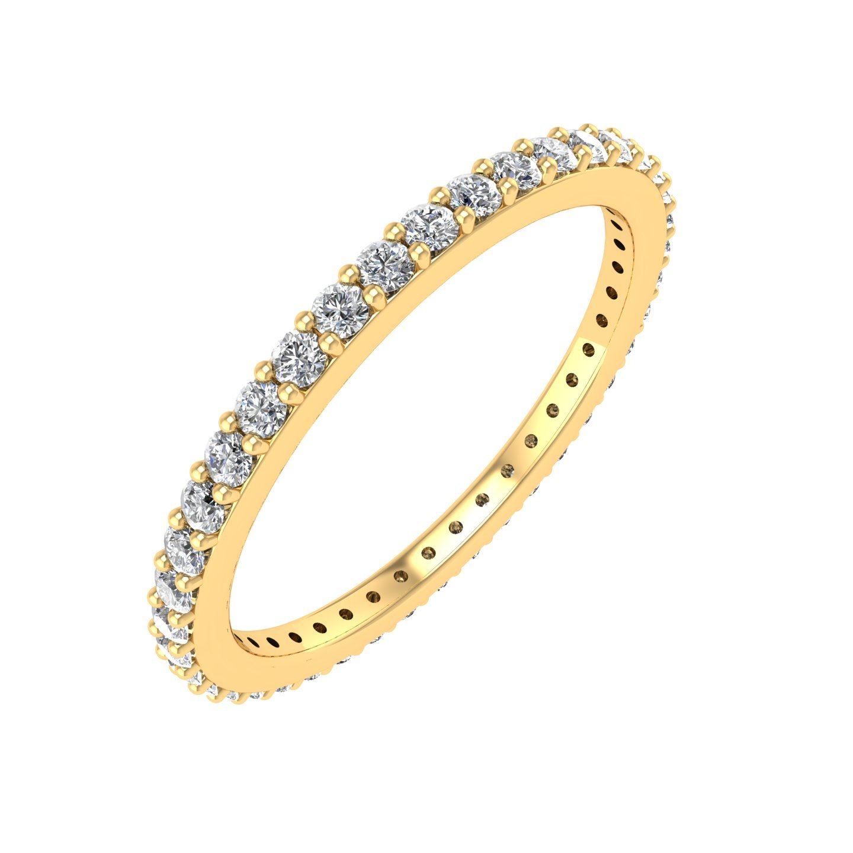 IGI Certified 14k Yellow Gold Diamond Eternity Band Ring (0.45 Carat)