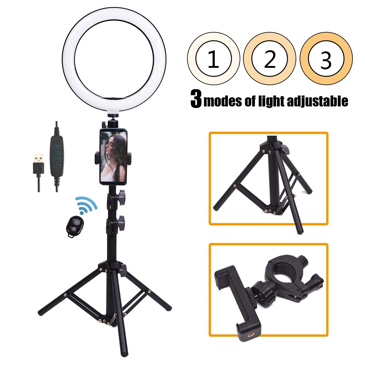 10'' Selfie Ring Light with Stand, Smilco Dimmable Led Ringlight Kits for YouTube Video/Live Makeup/Photography, Cell Phone Holder for iPhone, Samsung and More
