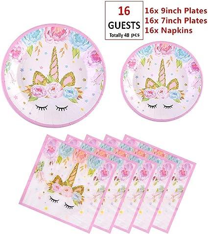 Amazon.com: Juego de 48 platos y servilletas de unicornio de ...