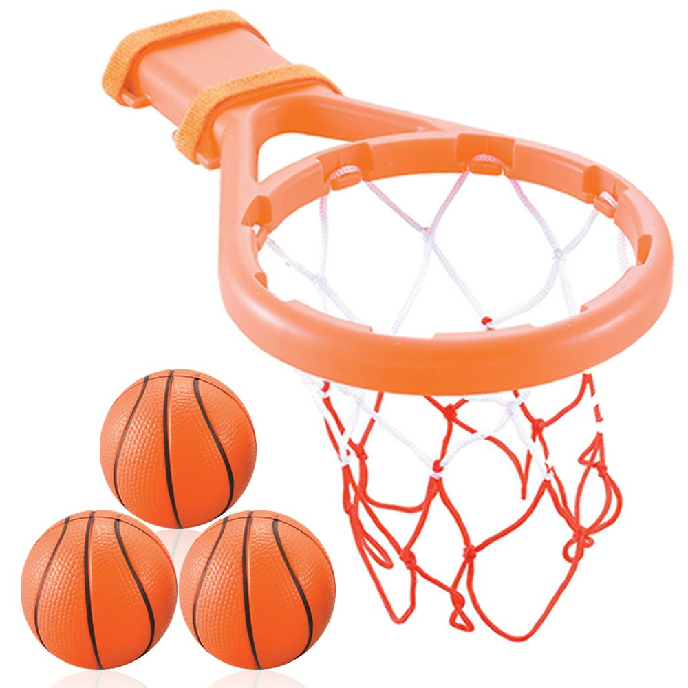 Amazon.com: 3 Bees & Me Bath Toy Basketball Hoop & Balls Set for ...