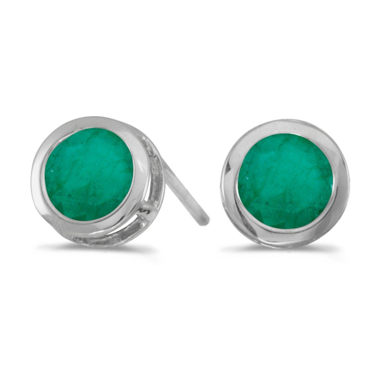 14k White Gold Round Emerald Bezel Stud Earrings