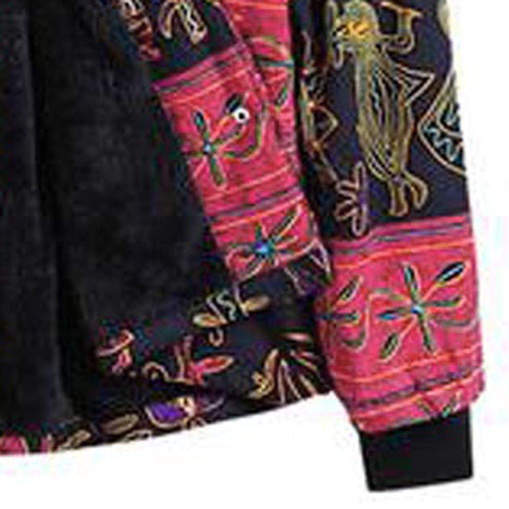 STORTO Women Vintage Print Hoodie Coat,Plus Size Loose Thicker Hasp Fleece Outwear