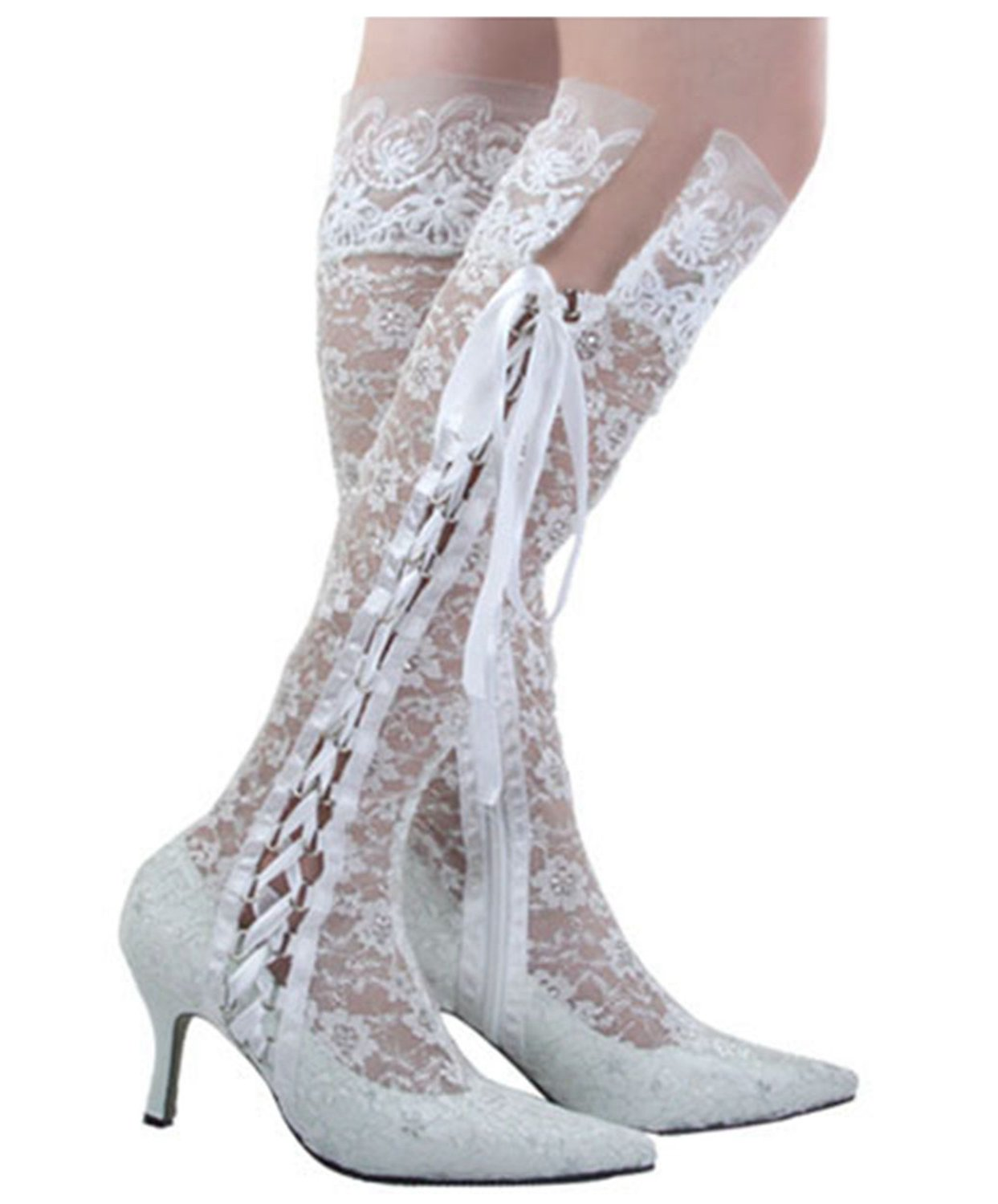 Minishion Womens Pointy Toe High Heel Bride Wedding Ivory Lace Shoes Knee-high Boots 6.5 M US