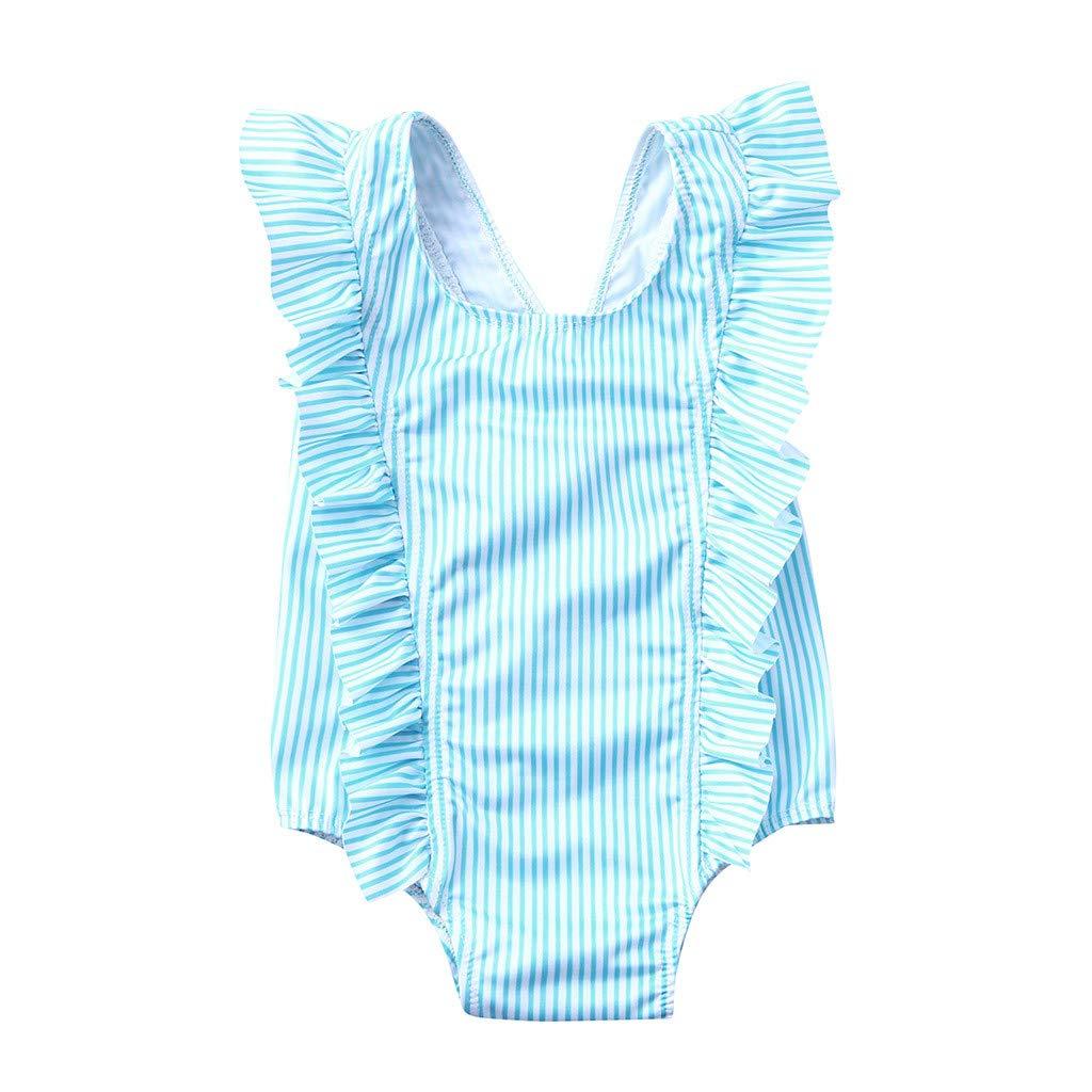 Bokeley Toddler Baby Girl Bikini Striped Beach Swimsuit Ruffles Bathing Suit Swimwear (Green, 2-3 Years)