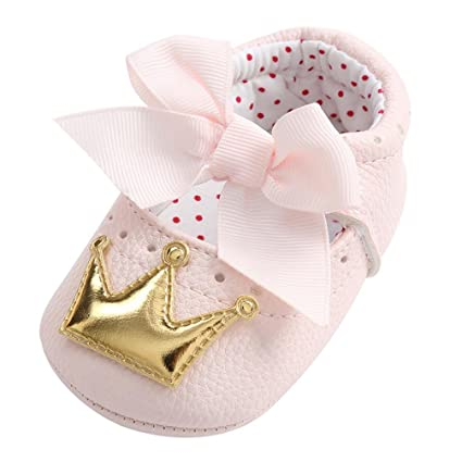 Amiley Baby First Crib Shoes,Baby Girl Premium Crown Princess Moccasins Soft Sole Anti-