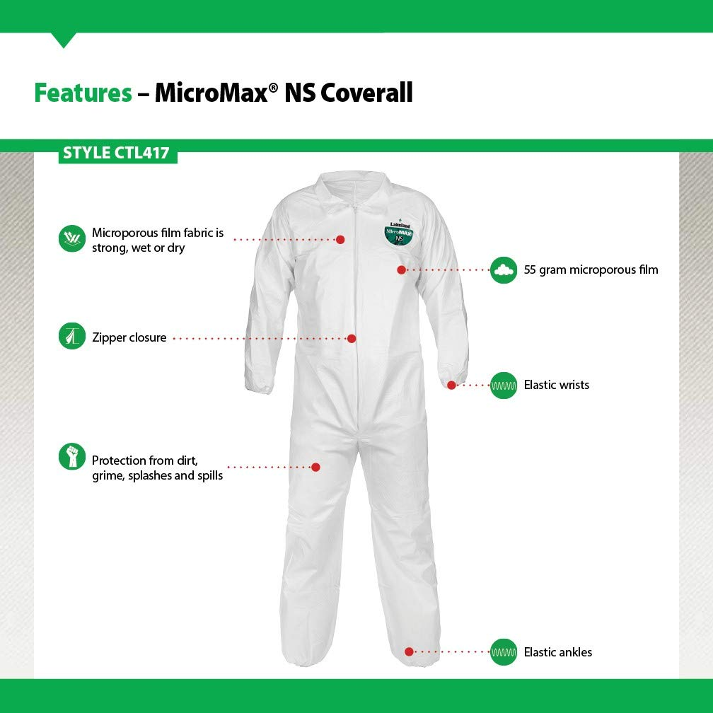 Lakeland MicroMax NS Microporous General Purpose Coverall, Elastic Cuff, X-Large, White (Case of 25) by Lakeland Industries Inc (Image #3)