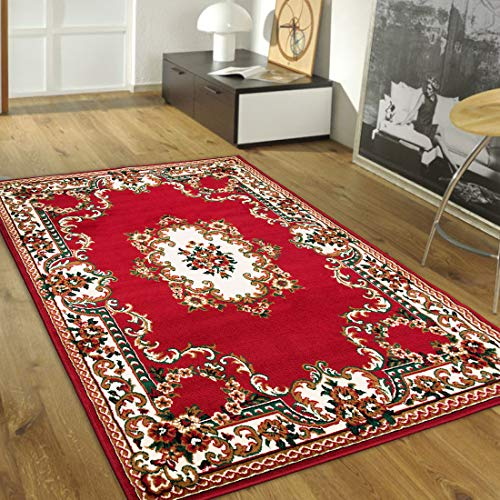 Maxstock Taj Mahal Collection Persian Traditional Design Rectangular Area Rugs -Red/Beige/Green/Ivory (8 Feet x 10 Feet)