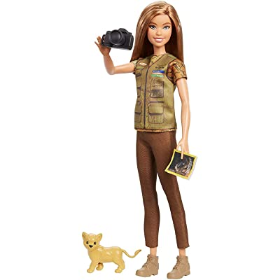 ​Barbie Photojournalist Doll, Brunette with Lion Cub, Camera and Magazine Cover, Inspired by National Geographic for Kids 3 Years to 7 Years Old: Toys & Games