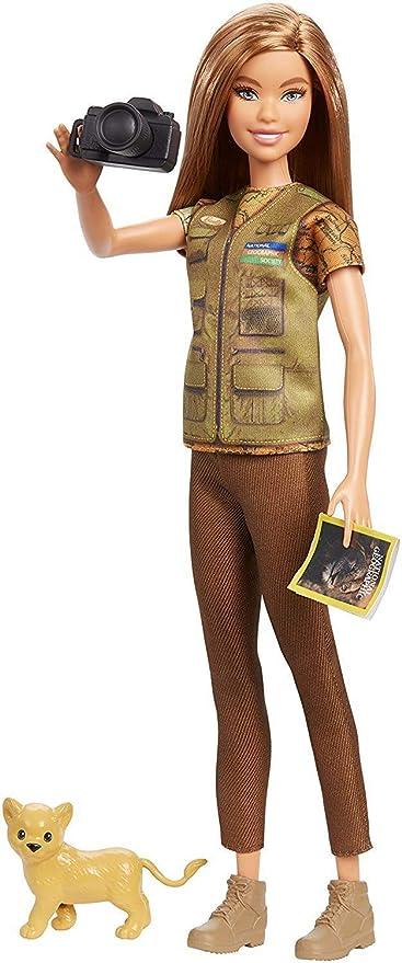 Barbie Métiers National Geographic poupée Journaliste Photo et Figurine Lionceau, jouet pour Enfant, GDM46
