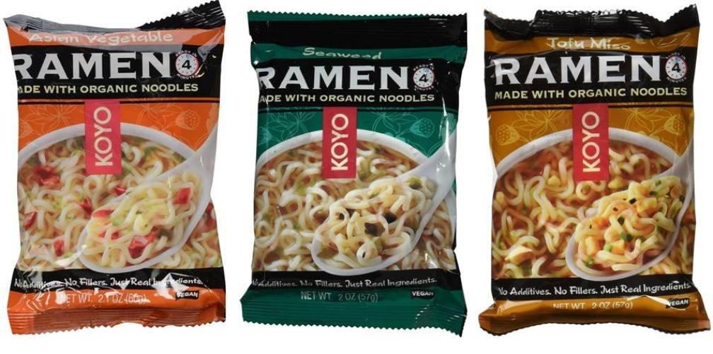 Koyo Vegan Organic Noodle Ramen 3 Flavor 9 Bag Variety Bundle: (3) Asian Vegetable, (3) Seaweed, and (3) Tofu Miso, 2-2.1 Oz Ea (9 Tot) by Koyo