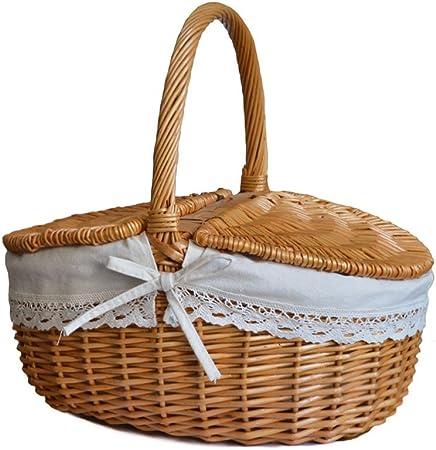 Amazon.com: Rurality mimbre cesta de picnic Hamper con tapa ...