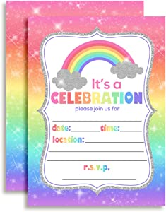 "Rainbow Sparkle Birthday Party Invitations for Girls, 20 5""x7"" Fill in Cards with Twenty White Envelopes by AmandaCreation"