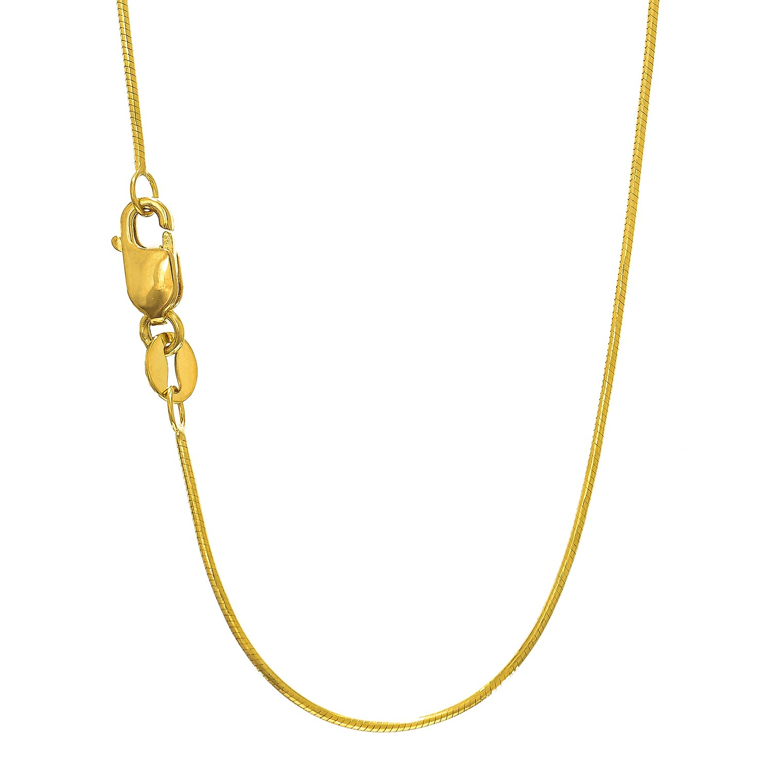 6435b2bb78e7 Amazon.com  MCS Jewelry 14 Karat White OR Yellow Gold Round Snake Chain  Necklace 0.7mm (Length  16