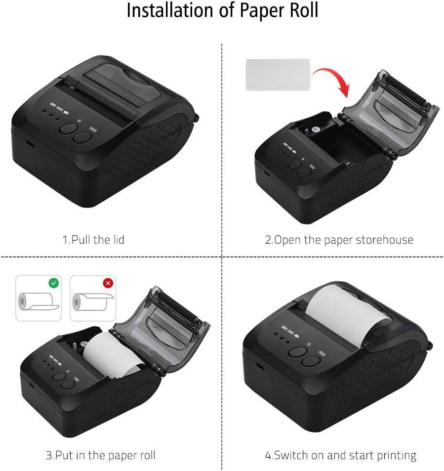 DZSF Impresora portátil portátil USB / BT4.0 de 58 mm Impresora térmica Directa Mini Impresora térmica inalámbrica de Recibos POS para teléfono Android iOS: Amazon.es: Deportes y aire libre